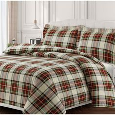 Invite a handsome surge of style into your sleep space with the Tribeca Living Charleston Duvet Cover Set. Cast in a brushed cotton flannel, a classic plaid print made up of red, green and yellow hues brings bold style to any bedroom. King Duvet Set, King Duvet Cover Sets, Queen Duvet, Duvet Sets, Flannel Duvet Cover, Red Duvet Cover, Duvet Covers, Plaid Bedding, Luxury Bedding Sets