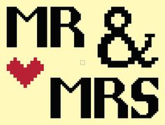 Wedding digital Cross stitch pattern 'Mr and Mrs' pdf CraftwithCartwright, £1.50
