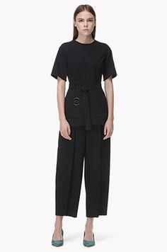 [TIME] Back zipper braid cuffs top