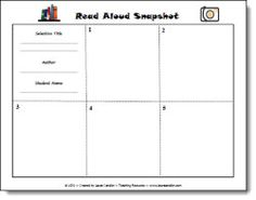 Read Aloud Snapshot graphic organizer freebie and other resources for reading aloud