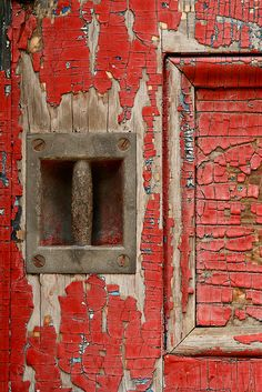 old peeling red paint on wood Les Doors, Peeling Paint, Photocollage, Paint Chips, Shades Of Red, Belle Photo, My Favorite Color, Textures Patterns, Color Inspiration