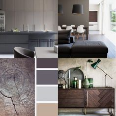 Wat doet de kleur bruin in je interieur | STIJLIDEE Interieuradvies en Styling | Fotografie: via Pinterest via www.stijlidee.nl Neutral Colors, Colours, Brown Interior, Concept Board, Color Mixing, Color Combinations, Dining Bench, Wall, House