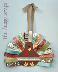 Make this fabric scrap paper turkey craft to add to your Thanksgiving decor. Thanksgiving Crafts For Kids, Thanksgiving Activities, Thanksgiving Decorations, Holiday Crafts, Holiday Fun, Kids Crafts, Craft Projects, Thanksgiving Turkey, Diy Turkey Crafts
