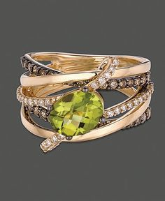 Le Vian 14k Gold Ring, Green Apple Peridot (1-3/4 ct. t.w.) and Chocolate and Vanilla Diamond (7/8 ct. t.w.) Gladiator Ring - Rings - Jewelry & Watches - Macy's