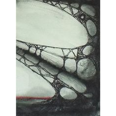 OCCULUS Original Watercolour Painting Abstract, Sci-fi, Fantasy,... ($119) ❤ liked on Polyvore featuring home, home decor, wall art, paper wall art, black white painting, red and black home decor, red and black wall art and black paintings