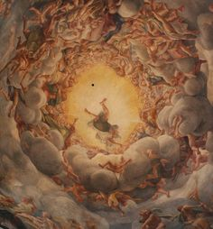Illusionististic cupola fresco of the Assumption by Antonio da Correggio.