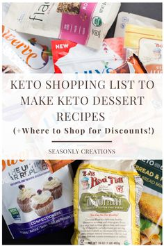 Keto Shopping List to Make Keto Dessert Recipes (+Where to Shop for Discounts!) Make your Low Carb Diet easier with this handy shopping list Keto Recipes, Snack Recipes, Dessert Recipes, Brownie Recipes, Dessert Ideas, Cookie Recipes, Keto Friendly Desserts, Low Carb Desserts, Paleo Shopping List