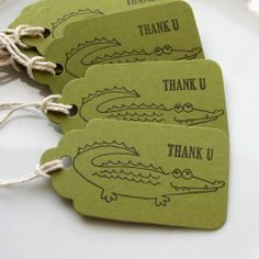 Alligator Party Tags Set of 8 Custom by FreshLemonBlossoms ~ for Bailey's birthday party favors :)