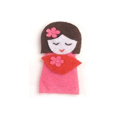 Adorable little Asian doll felt hair clip, a sweet Christmas gift for a little girl, great as holiday gifts or birthday gifts for girls too.