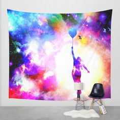 fly away Wall Tapestry by Haroulita | Society6 #walltapestry #society6 #space #universe #colorful #girl #balloon #birds #space wall tapestry #universe wall tapestry