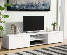Ideas living room white tv stand tvs for 2019 Design Stand, Tv Stand Designs, Booth Design, Banner Design, White Tv Stands, Cool Tv Stands, Living Room Tv, Living Room Furniture, Tv Furniture