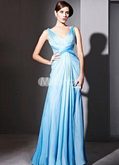 A-line Blue Silk Satin V-neck Crystal Decoration Prom Dress