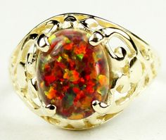 R004, Created Red/Brown Opal, 10KY Gold Ring * Stone Type - Created Red/Brown Opal * Approximate Stone Size - 10x8mm  * Approximate Stone Weight - 3 cts  * Jewelry Metal - Solid 10k Yellow Gold * Approximate Metal Weight - 2.8 grams  * Ring Size - Size selectable during checkout * Our Warranty - A full year on workmanship  * Our Guarantee - Totally unconditional 30 day guarantee