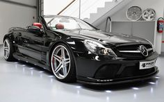 Mercedes Benz SL Class Convertible Black Edition Wide Body Kit by Prior Design Mercedes Benz Parts, Mercedes Car, Custom Mercedes, Classic Mercedes, Benz Car, Black Edition, Black Series, Amazing Cars, Hot Cars