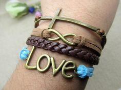 Silvery Cross & Infinity Love Cuff Bracelet  by DavidBracelets, $5.50