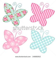 Cute primitive retro butterflies as textile patch applique - stock photo
