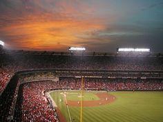 A beautiful sunset over Angel Stadium in Anaheim.