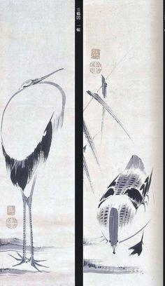 伊藤若冲 芦雁図 立鶴図. Crane and rooster. Japanese hanging scrolls. Ito Jakuchu. Eighteenth century.