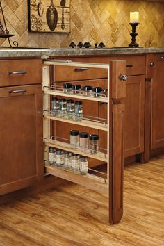 """Rev-A-Shelf 432-BFBBSC-3C Pull-Out Between Cabinet Base Filler with Ball-Bearing Soft-Close Slides, 3"""", Natural"""