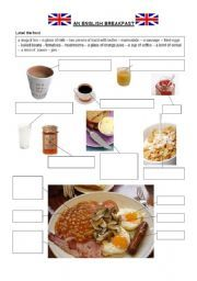 an English breakfast - ESL worksheet by English Breakfast, American Breakfast, Best Breakfast Smoothies, Breakfast For A Crowd, Food Vocabulary, English Vocabulary, English Grammar, Easy Dinner Recipes, Easy Meals
