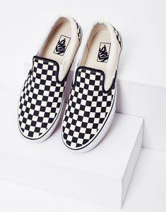 aa437f464ef587 Vans Slip-On Plimsolls Black White Check Vans Slip On Black