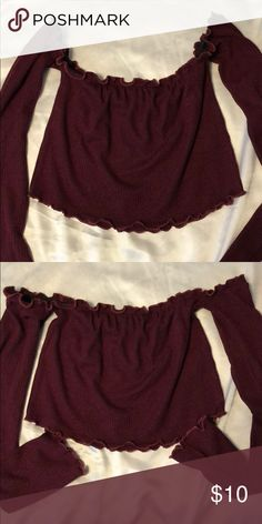 Off shoulder crop top Wine colored, off shoulder crop top Tops Crop Tops