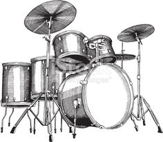 Drum Set Ink Drawing - vector illustrations