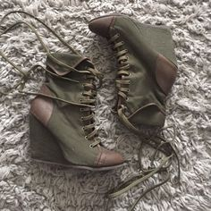 Coconut Bootie Olive green fabric with brown leather captoe and ankle wedge bootie. Very comfortable, size 8, fits true to size. Very little scuff in front as shown in picture, super good condition. Coconut Shoes Ankle Boots & Booties