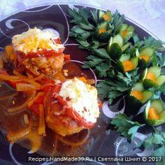 Запечённые в духовке мясные тефтели на овощной подушке - пошаговый рецепт с фото. Oven baked meatballs on a vegetable pillow - step by step recipe with photos.