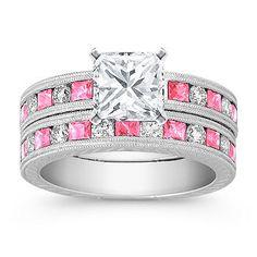 Vintage Princess Cut Pink Sapphire and Round Diamond Wedding Set