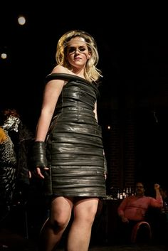 Black cocktail dress made from bicycle tire tubes (Bootleg Fashion Fall 2011)