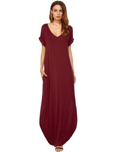 Bolsillos rojos con pliegues rojizos Split Maxi Dress-Spanish SheIn (Sheinside. 11,82€)