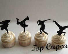 Breakdance Silhouette Cupcake Toppers by TopCupcake on Etsy Parkour, Dance Birthday Cake, Dad Birthday, Birthday Cakes, Birthday Ideas, Happy Birthday, Dance Cupcakes, Disco Party, Disco Theme