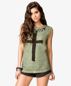 Bejeweled Cross Muscle Tee $17.80 at Forever 21 ~ Cute and it comes in black and grey!