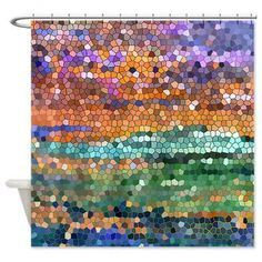 Etsy Abstract colorful Shower Curtain - Stained glass mosaic design, art, decor, bath, home, sunset, beautiful, $65.00
