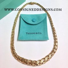 A gorgeous Authentic Tiffany & Co. 14k Yellow Gold Russian Weave Necklace Available For Sale. #tiffanyandco #necklace #tiffany #jewelry #love #fashion