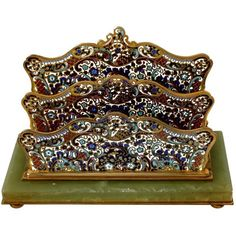 19th French Champlevé Enamel Onyx Letter Stand / Table / Desk Accessory  | 1stdibs.com