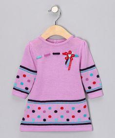 Violet Polka Dot Sweater Dress