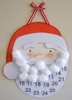 Σε αυτόν τον Αη Βασίλη θα πρέπει να προσθέτει λίγο βαμβάκι στο κάθε νούμερο κάθε ημέρα . Μόλις συμπληρωθούν όλα τα γένια του Αη Βασίλη τότε θα καταλάβουν ότι ήρθαν τα Χριστούγεννα...