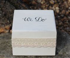 Wedding Ring Pillow Box, Ring Bearer Box Stamped We Do, Lace Wraped,  Rustic, Woodland, Shabby Chic Weddings on Etsy, $25.50