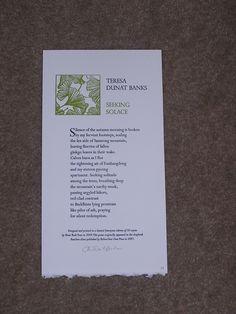 "Teresa Dunat-Banks ""Seeking Solace"" Autumn Morning, Senior Project, Solitude, Banks, Earthy, Poetry, Design, Poetry Books"
