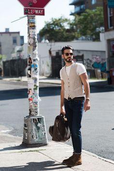 look homme gilet tee shirt blanc