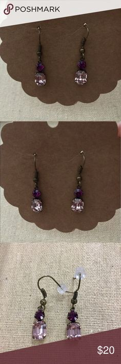 """Swarovski rose & amethyst Crystal stone Earrings Swarovski Links vintage style octagon stone drop earrings. Light rose and amethyst in antique brass setting. Handmade by me never worn or tried on. Measure approx 1/2"""" from drop of French wire. Just perfect. Hand Crafted Jewelry Earrings"""