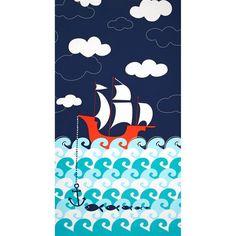Michael Miller Ahoy Matey Panel Making Waves Single Border Navy