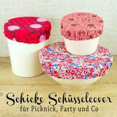 Schicke Schüsselabdeckungen aus Stoff schnell selbst genäht Hach, this week the weather should be nice again! And then there's definitely one or the other grill party to which a homemade salad, dipping or dessert is desired. Diy Projects For Kids, Diy Sewing Projects, Sewing Projects For Beginners, Diy For Kids, Sewing Crafts, Crafts For Kids, Sewing Tips, Sewing Tutorials, Art Projects