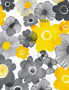 Yellow and grey together are amazing. print & pattern: NEW FABRICS - margaret berg Yellow and grey together are amazing. print & pattern: NEW FABRICS - margaret berg Motifs Textiles, Textile Patterns, Textile Design, Flower Patterns, Print Patterns, Fabric Design, Flower Pattern Design, Surface Pattern Design, Pattern Art
