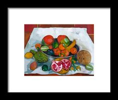 Still Life Framed Print featuring the painting Still Life With Exotic Fruits by Carmen Stanescu Kutzelnig Exotic Fruit, Painting Still Life, Hanging Wire, Be Still, Fine Art America, Framed Prints
