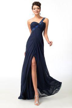 One Shoulder Navy Blue Elegant Bridesmaid Dress