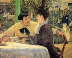 """Edpuard Manet 1879 """"Chez le Pere Lathuille"""" oil on canvas 92 x 112 cm Musée des Beaux-Arts, Tournai, Belgium"""
