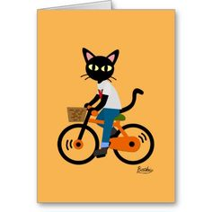 Cute kitty art! Summer cycling Greeting Card by BATKEI #CatLady #CatGift